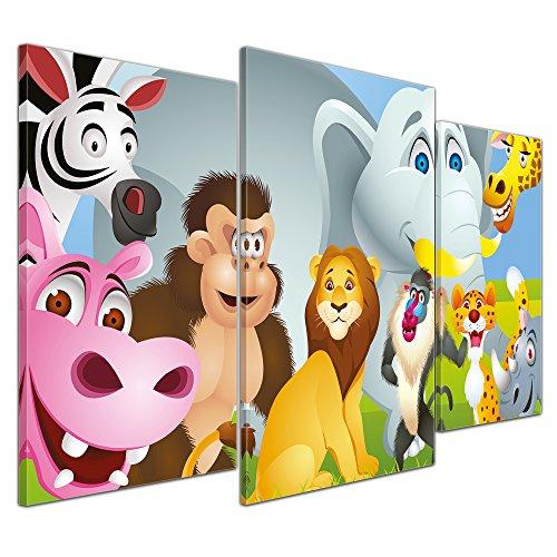 (Kunstdruck - Kinderbild Tiere Cartoon IV - Bild auf Leinwand - 100x60 cm dreiteilig - Leinwandbilder - Kinder - fröhliche, Wilde Tiere)