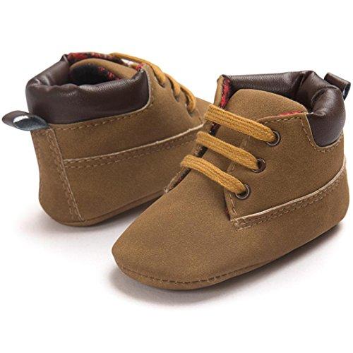 Saingace® Toddler semelle souple chaussures en cuir bébé garçon chaussures fille tout-petits,0-18mois (12(12cm/6-12mois), Marron) Marron