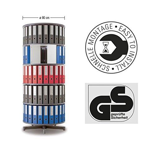 MOB Ordner Drehsäule - Durchmesser: 80cm - 5 Größen wählbar - 122cm - 5 Jahre Garantie