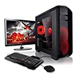 Megaport Super Méga Pack - Unité Centrale pc Gamer Complet Ecran LED 22' Claviers de Jeu et Souris AMD A8-9600 4X 3.1Ghz 8Go 1To Win10 Ordinateur de Bureau pc Gaming
