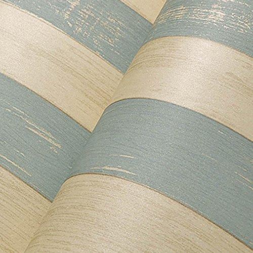 Zhzhco Vintage Blue Im Östlichen Mittelmeerraum Holz Non-Woven Tapeten Vertikale Streifen Retro Schlafzimmer Wohnzimmer-Tv An Der Wand Im Hintergrund Tapete Streifen 10 Meter Installiert