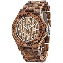 Amexi calendario in legno Dimensioni Mens della vigilanza con 44 millimetri Diametro di caso della zebra di legno del Giappone Movimento al quarzo Vendita - Professionale Orologio Al Quarzo