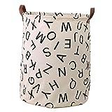 Fyore borsa a secchiello pieghevole in tela di grandi dimensioni da usare come cestino per biancheria manico in vera pelle fantasia con piccoli triangoli Tela Letters 62x50cm