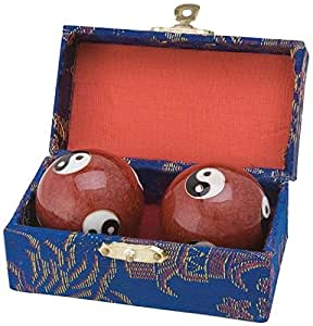 JapanBargain JapanBargain S-3580 Chinese Health Stress Relieve Hand Exercise Baoding Balls Red