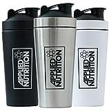 Applied Nutrition Metal Shaker Eiweiß Protein Edelstahl 750ml Fassungsvermögen Bodybuilding (Black)