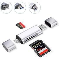 Tec Tavakkal® Card Reader, 3-in-1 USB 3.0, USB C, Micro USB Card Reader SD, Micro SD, SDXC, SDHC, Micro SDHC, Micro SDXC Memory Card Reader for MacBook PC Tablets Smartphones