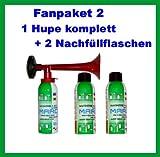 1 Marco Drucklftfanfare 2 Marco Nachfüllflaschen--kein billiges China Produkt---Hupe Fanfare Tröte Drucklufthupe