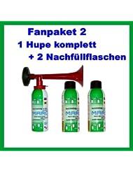 ORIGINAL Marco Druckluftfanfare Fanpaket 2-----HUPEN FAN SET 1 Hupe komplett 2 Nachfüllflaschen Fanfare Hupe Tröte