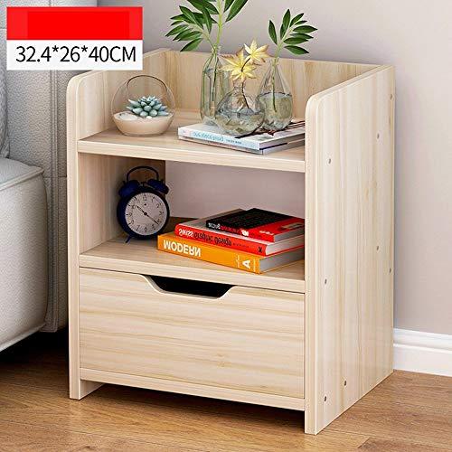 ACZZ Einfacher Nachttisch Schlafzimmer-Lagerschrank Einfacher und moderner Nachttisch mit Schubladen Wirtschaftlicher Lagerschrank,Ahorn Kirsche Farbe -