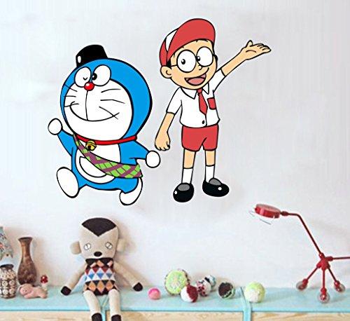 Decor villa nobita and doremon Multicolor Wall sticker ( 22 Inch x 26 Inch )