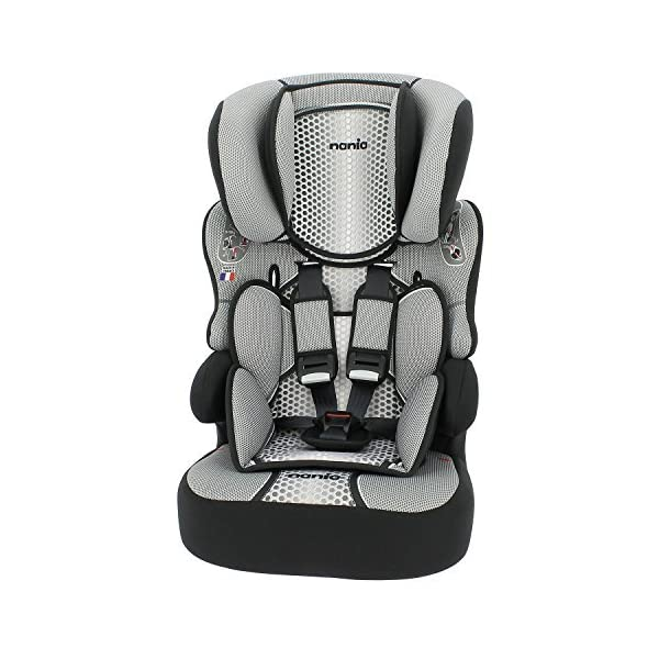 Nania Beline Group 1/2/3 Highback Booster Car Seat, Grey  High back booster car seat with harness Designed to ensure your little one travels in comfort Padded and adjustable height headrest 1