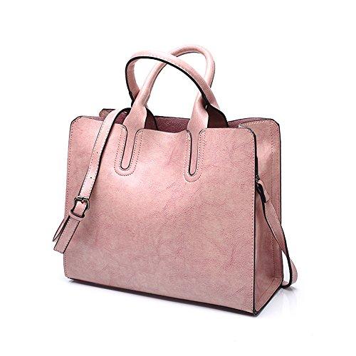 XMY Mode Damen Tasche Öl Wachs Leder Portable Damen Umhängetasche Umhängetasche, Rosa -