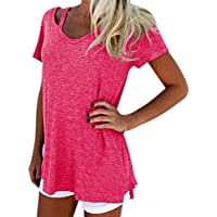 Yeamile Camiseta de Mujer Tops Suelto Blusa Causal Camisetas Ocasionales Moda Camiseta
