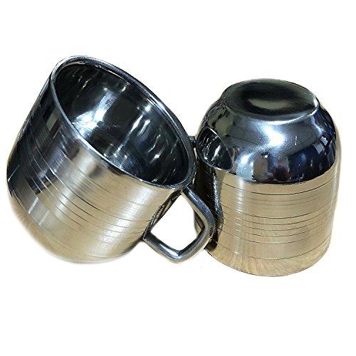 Einweg-arbeitsplatte (Valentinstag Geschenke, Satz von 2 Edelstahl Trinkbecher für Kinder, Tee & Kaffeetassen, Silber Farbe Größe 2,9 X 2,9 Zoll)