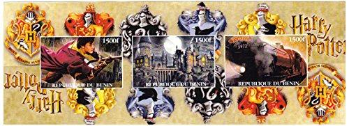 Harry Potter Briefmarken für Sammler. Eine sehr attraktive imperforate Blatt aus Benin, mit Briefmarken, die Harry Potter, Hogwarts Castle und der Hogwarts-Express. Post (Harry-potter-briefmarken)