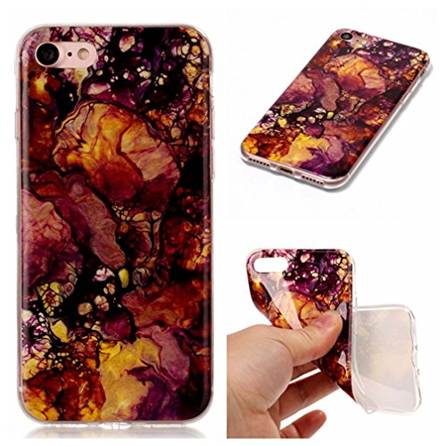 Coque iPhone 7 XiaoXiMi Étui de Texture en Marbre Housse Souple de Protection Soft Slim Case Étui en TPU Gel Silicone Coque Flexible Lisse Etui Ultra Mince Poids Léger Housse Anti Rayure Anti Choc-Ros Violet Jaune