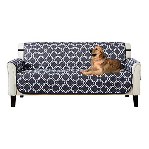 Lovestory copridivano tre posti impermeabile sofa saver 3 posti reversibile divano trapuntato antiscivolo protegge da animali extra (blu, 3 posti)