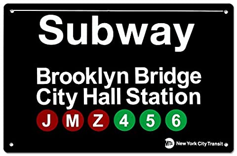 New York City Subway Brooklyn Bridge City Hall Metal Sign