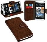 Elegante Buch-Tasche für das HTC ONE (M7) in Braun Wallet Book-Style @ Energmix
