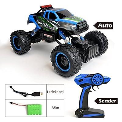 Maximum RC Ferngesteuertes Auto für Kinder - 4WD Monstertruck - XL RC Auto für Kinder ab 8 Jahren - Rock Crawler Farbe blau von Maximum RC