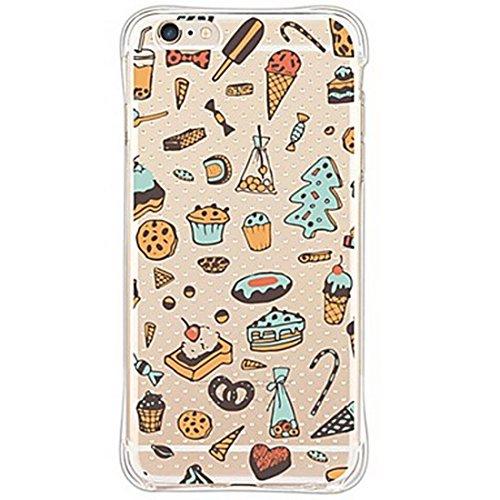 Seconddromi custodia simpatici gelati, torte, ciambelle, biscotti e snack al cioccolato con silicone airbagsper il iphone se, per il iphone 5s,multicolore
