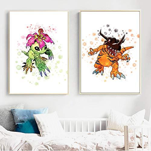 XWArtpic Aquarell Pokemon Pock Monster Pikachu Wandkunst Leinwand Malerei Nordic Poster Und Drucke Wandbilder Kinderzimmer Kinderzimmer Dekor F 60 * 80 cm * 2 stücke