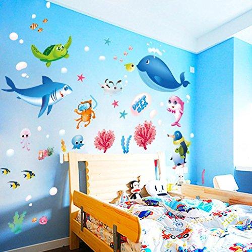 wandaufkleber wandtattoos Ronamick Bunte Fisch Shark Ocean Wand Aufkleber Vinyl Aufkleber Wandbild Kids Room Decor Wandtattoo Wandaufkleber Sticker Wanddeko