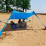 Augproveshak Sonnensegel Strandzelt UPF50+ Anti-UV Winddicht Sonnenschutz Baldachin mit Sandsack-Ankern, Stangen, Tragetasche Sonnenschutz für Sommer Strand Outdoor Camping Aktivitäten blau