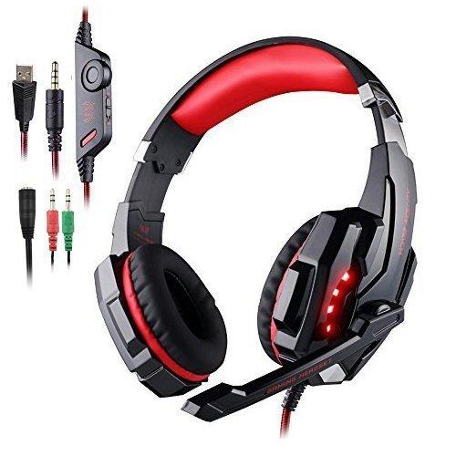 qka cuffie da gioco per xbox ps4 one pc, cuffie con microfono noise cancelling bass surround over ear led per laptop gamers mac nintendo switch games,red