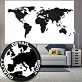 Carta da parati fotografica Mappa del mondo in bianco e nero Quadro Murale Decorazione Globo Cartina Terra Continenti Atlante World Map Mondo Map of the world I Fotomurales by GREAT ART (210x140 cm)