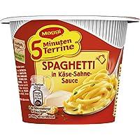 MAGGI 5 Minuten Terrine Spaghetti in Käse-Sahne-Sauce, leckeres Fertiggericht, Instant-Nudeln, mit würzigem Speck & Parmesan, 8er Pack (8 x 62 g)