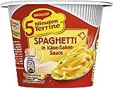 Maggi 5 Minuten Terrine Spaghetti in Käse-Sahne-Sauce, Instant-Nudelsnack in Sahnesauce mit Speck, ergibt eine Portion (8x62g)