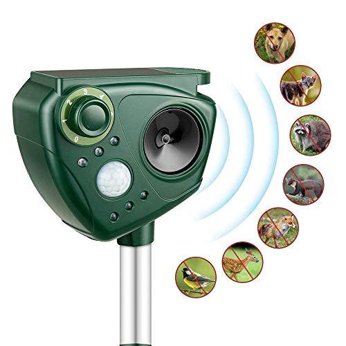SHENGMI Ultraschall Tiervertreiber Solar Tierabwehr Wasserdicht Abwehr Katzenschreck Hundeschreck Marderabwehr vogelabwehr