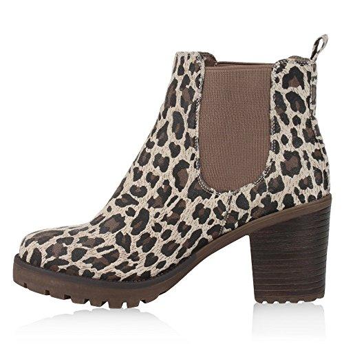 Damen Stiefeletten Blockabsatz Chelsea Boots Profilsohle Leopard