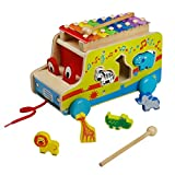 Pull Along Truck Xylophone Car Toy Knock Piano Music Toy Wooden Geometric Shape Sorter Piano Music for Children 3Y+