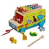 ACOOLTOY Ziehen Spielzeug mit Formen Sortier Holz Autos Xylophone mit 8 Tönen für Kinder Jungen Mädchen