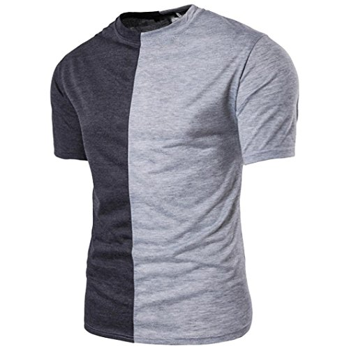 Sommer Rundhalsausschnitt Lässiges Farbabstimmung T-Shirt Patchwork Muskel Kurzarm Shirt Herren Top Bluse GreatestPAK,Grau,XL
