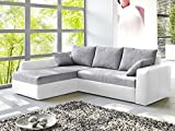 Ecksofa Vida 244x174cm grau weiß Couch Sofa Polsterecke Schlafsofa Bettkasten