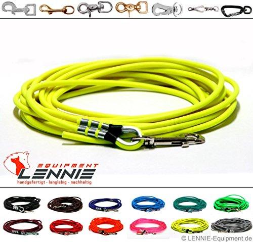 Schleppleine aus 8 mm runder BioThane® / 1-30 Meter [5m] / 13 Farben [Neon-Gelb] / ohne Handschlaufe