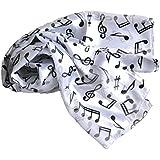 Nota Musical choirs bufanda para hombres mujeres satén Peso ligero negro, color blanco, rojo y dorado, tela, Blanco, 33 x 153 cm