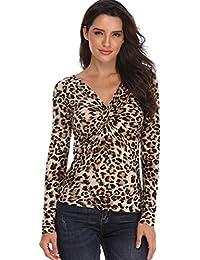 Camisas y Blusas para Mujer Leopard Print Sexy con Cuello en V Top Twisted Front con Nudos Busto Ladies Tunic Slim Pliegues Tie