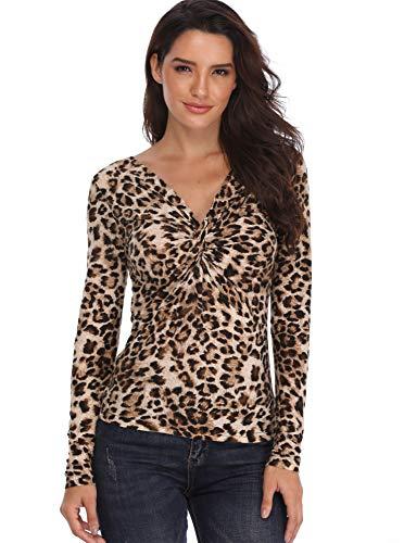 Front Floral Print Top (Women Leopard Print Tops Twisted Front V-Ausschnitt Shirt Mit Langen Ärmeln Damen Tunika Slim Fit Knoten Bust - S)
