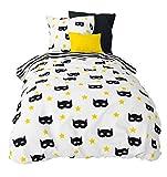 Aminata Kids Kinder-Bettwäsche-Set 135-x-200 cm Super-Held-en Maske Comic schwarz gelb Junge-n Jungs Teen-ager Jugend-liche-r 100-% Baumwolle Bett-Bezüge Bezug Normal-Größe Einzel-bett-Decke Reißverschluss Oeko-Tex Kopf-Kissen 80-x-80 2-teilig