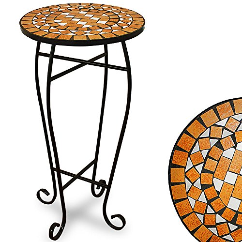 Garden Mosaic Side Coffee Table 34cm Flower Plant Stand Outdoor Indoor Round Bistro Patio Conservatory Balcony Terrace Living Room Display Birthday Gift