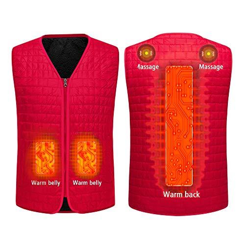 Beheizte Weste ärmellose für Herren Damen, USB Elektrische Kohlefaser Unisex Leichte Isolierte Beheizte Kleidung 3 Dateien Einstellbare Temperatur Und Massage für Winter Outdoor Camping