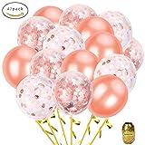 Roségold Konfetti Ballon Set, Skaine 12inch 47 Stück inklusive 26 Stück Konfetti Luftballons 20 Stück Latex Luftballons und 1 goldenen Luftballons Zeichenfolge für Geburtstagsparty,Hochzeits-Verlobung