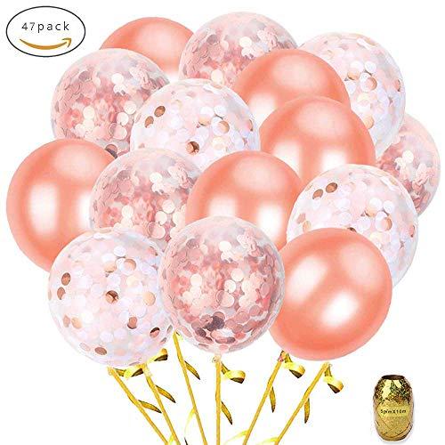 Roségold Konfetti Ballon Set, Skaine 12inch 47 Stück inklusive 26 Stück Konfetti Luftballons 20...