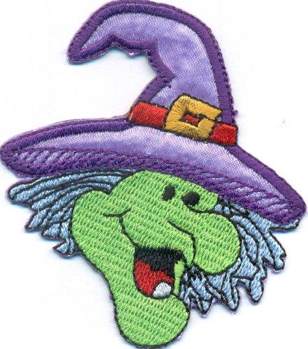 Hexenkopf lustige Hexe Hexenhut Witch Kostüm Mantel Deko Aufbügler Aufnäher