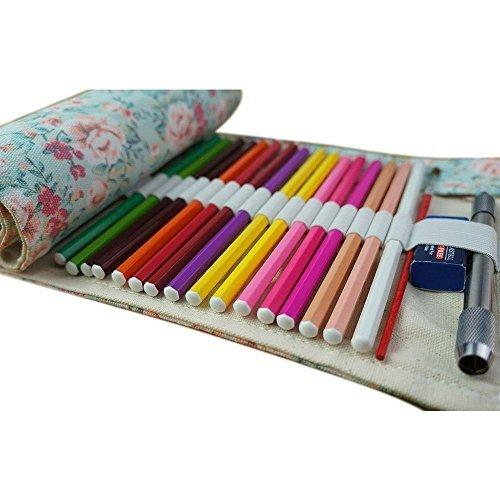 Wady Stifterolle für 72 Buntstifte und Bleistifte, aus Canvas, Stifteetui Roll-up für Künstler, Mehrzwecktasche für Reisen / Schule / Büro / Kunst (Anmerkung: ohne Farbstifte)