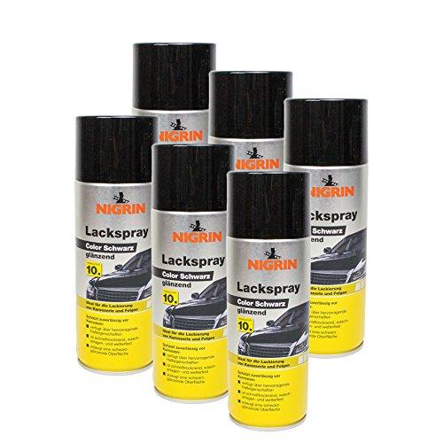 Nigrin 6 x 74113 Lackspray Color Schwarz glänzend 400 ml -